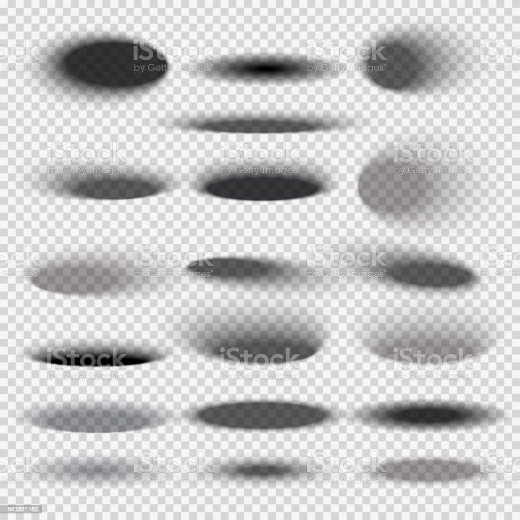 Ombres portées fond ovale transparent pour des modèles de vecteur d'objets ronds - Illustration vectorielle