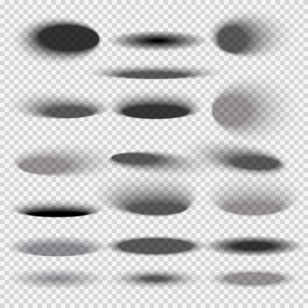 bildbanksillustrationer, clip art samt tecknat material och ikoner med transparent oval botten skuggor för alla runda föremål vector mallar - skuggig