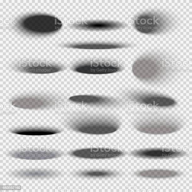 Transparent oval bottom drop shadows for any round objects vector templates. Collection of shade round shape, illustration of black shadow surface