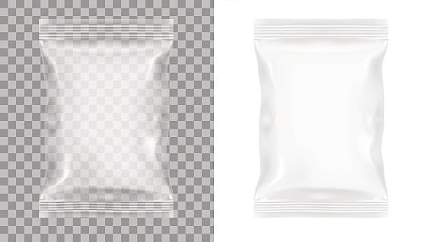 Transparent Packaging For Snacks, Chips, Sugar, Spices, Or Other Food vector art illustration