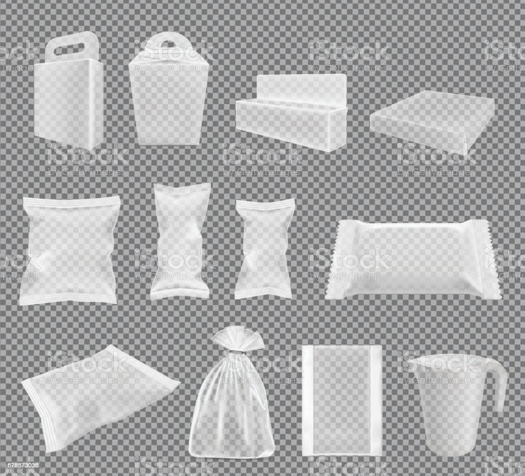 Transparent packaging for snacks, food, chips, sugar and spices. Big vector set vector art illustration