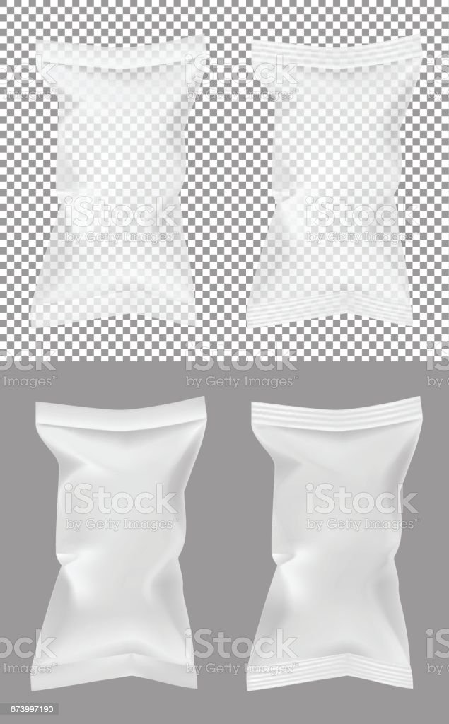 Transparent packaging for snacks, food, chips, sugar and spices vector art illustration