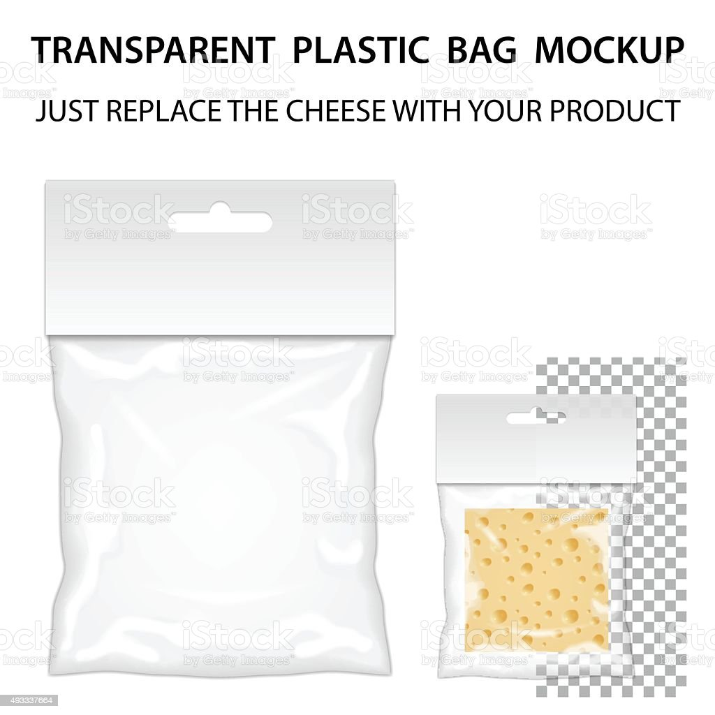 Transparent Plastic Bag Mockup Ready For Your Design. Blank Pack vector art illustration