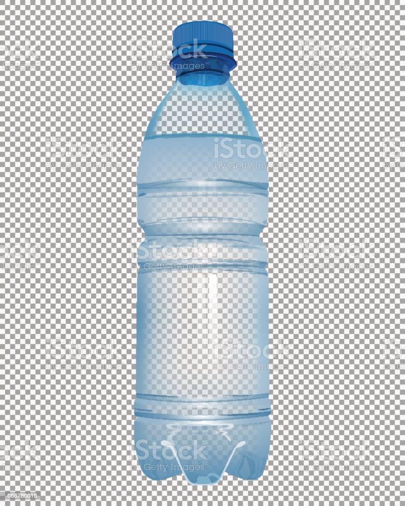Botella de plástico transparente con agua mineral con cierre tapa azul - ilustración de arte vectorial