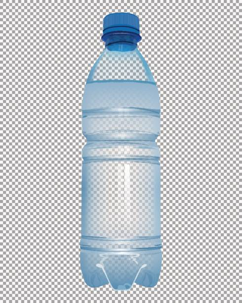 Transparent plastic bottle with mineral water with close blue cap vector art illustration