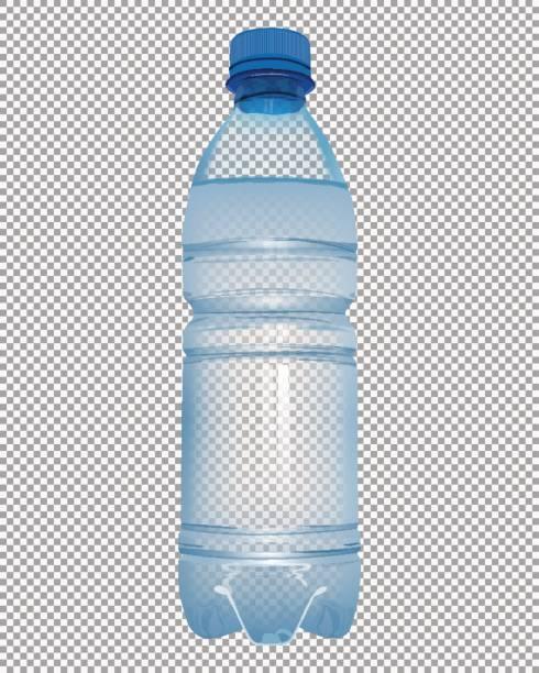 illustrations, cliparts, dessins animés et icônes de bouteille en plastique transparent avec de l'eau minérale avec fermer le capuchon bleu - bouteille d'eau