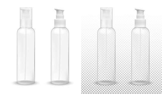 Transparent plastic bottle with pump dispenser