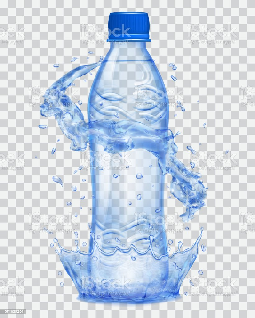 Transparent plastic bottle with water crown and splashes in blue colors vector art illustration