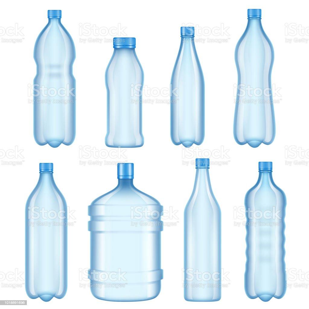 透明なプラスチック製のボトル水のボトルのベクトル イラスト からっぽ