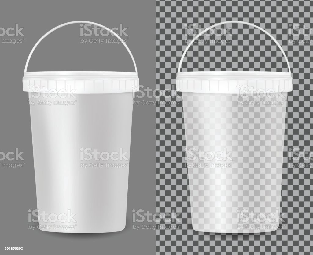 Transparent plastic bucket for food, sour cream, sauce and snack vector art illustration