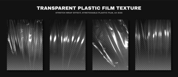 Transparent plastic film texture, stretchable polyethylene film, A4 size. Plastic stretch film effect with crumpled and wrinkled texture Transparent plastic film texture, stretchable polyethylene film, A4 size. Plastic stretch film effect with crumpled and wrinkled texture. Vector plastic stock illustrations
