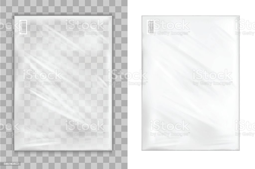 Transparent plastic shopping bag vector art illustration