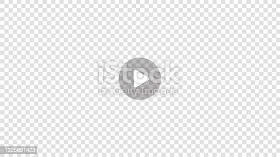 Transparent Play button isolated on transparent background.