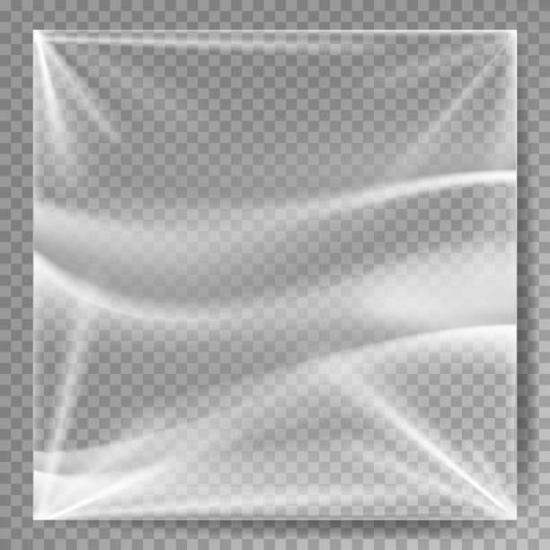투명 한 폴 리 에틸렌 벡터입니다. 디자인을 위한 플라스틱 워프 템플릿입니다. 현실적인 효과 대 한 주름이 표면. 투명 한 배경 그림에 절연 - 플라스틱 stock illustrations