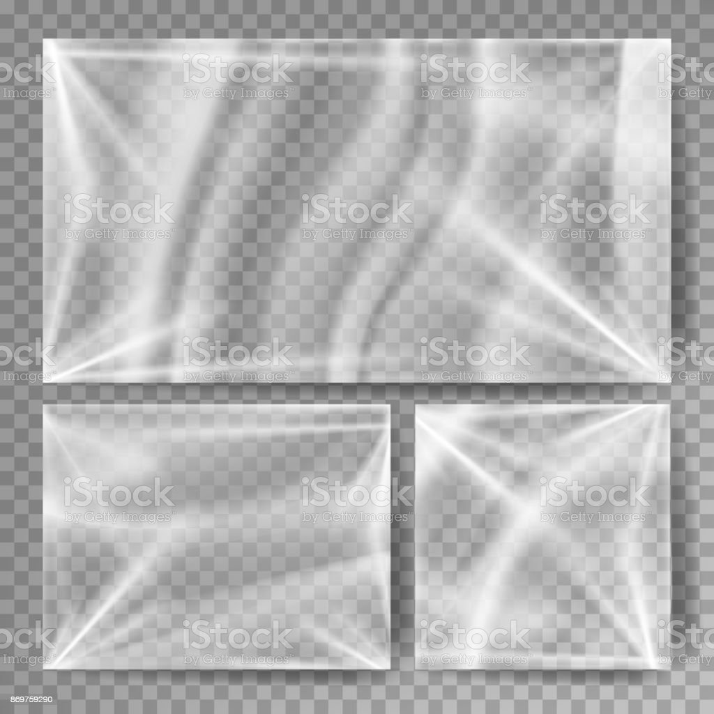 Transparent Polyethylene Vector. Stretched Glossy Plastic Warp Mock Up. Isolated On Transparent Background Illustration vector art illustration
