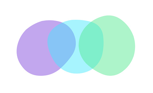 Uneven, all different blobs with round corners, transparent, spread out horizontally.