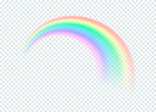 transparent rainbow. isolated on transparent background. vector illustration. - tęcza stock illustrations