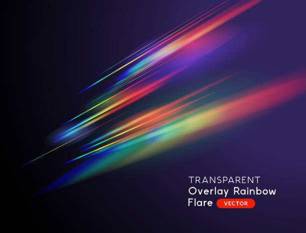 Transparent Rainbow Light Streak Effects A transparent light leak camera rainbow streak effect. Vector illustration. light natural phenomenon stock illustrations
