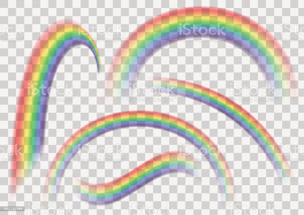 Conjunto arco iris transparente. Colección arco iris aislado sobre fondo de vector transparente. - ilustración de arte vectorial