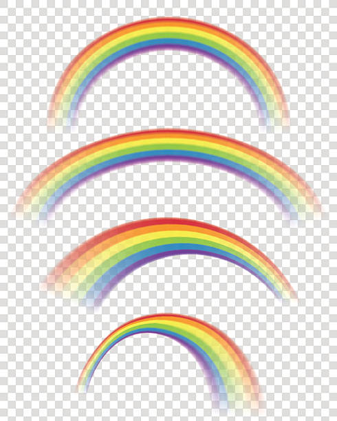 Transparent Rainbows in Different Shapes Vector illustration of rainbows. Eps10 vector file, contains transparent objects. High resolution JPG, PNG (transparent background) and AI files are included. rainbow stock illustrations