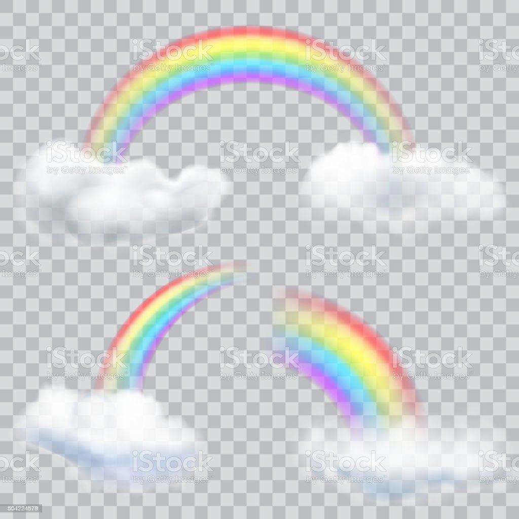 Transparent Rainbows With Clouds Royalty Free Stock Vector Art Amp