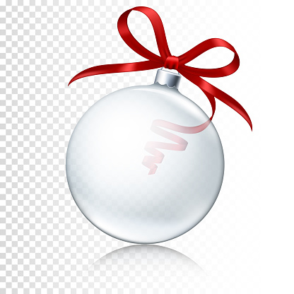 Transparent realistic Christmas ball with red ribbon isolated.
