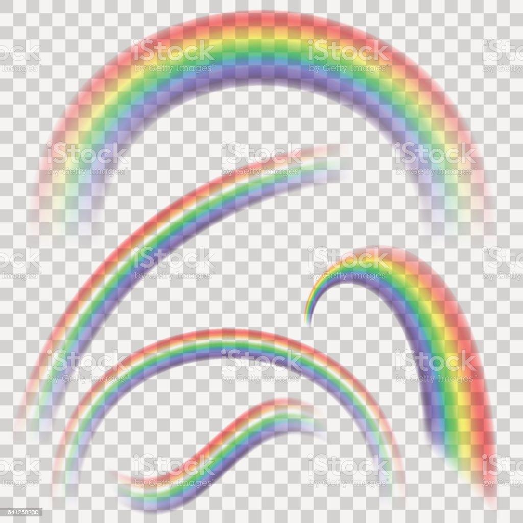 Ensemble transparent arc-en-ciel colorés réaliste. Collection Rainbow isolée sur fond transparent vecteur. - Illustration vectorielle