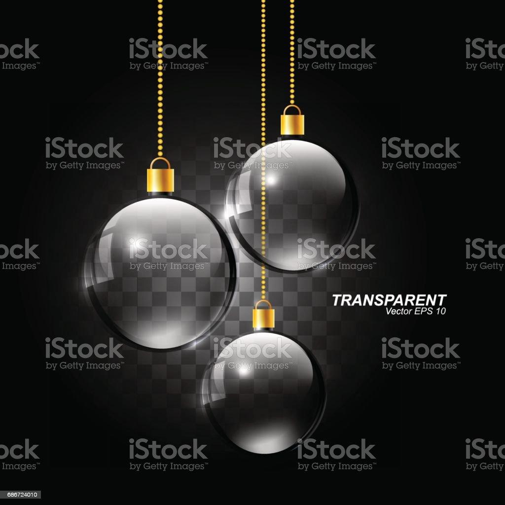 Esfera de cristal transparente de realista, bola de cristal de Navidad colgante, ilustración vectorial - ilustración de arte vectorial