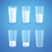 Transparent realistic glasses of milk isolated