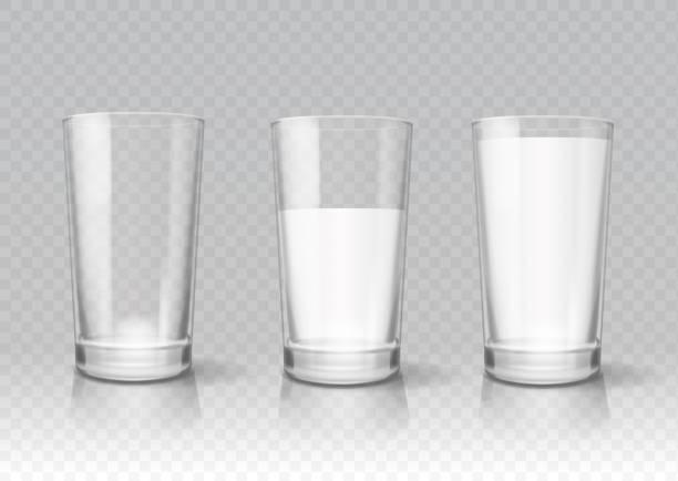 illustrazioni stock, clip art, cartoni animati e icone di tendenza di transparent realistic glasses of milk - latte