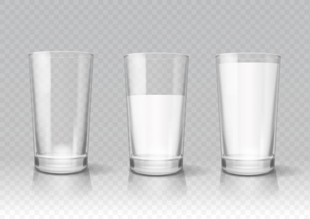transparent realistic glasses of milk - kieliszek stock illustrations