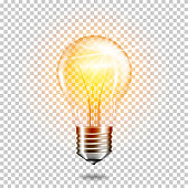 Transparent realistic light bulb, isolated.