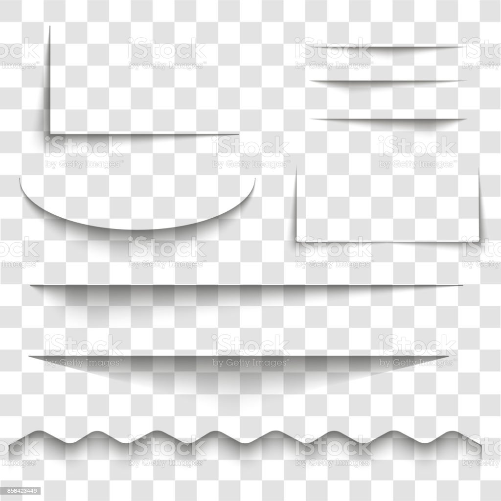 Transparent realistic paper shadow effect set. Abstract vector illustration for your design and business on transparent background. - illustrazione arte vettoriale