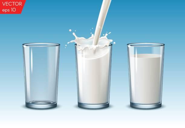 şeffaf gerçekçi şeffaf gözlük, süt dökmek için tam sürüyorum ve cam mavi bir arka plan üzerine boşaltın. - mimari illüstrasyonlar stock illustrations