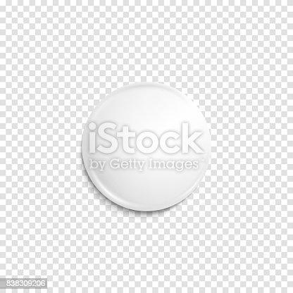istock Transparent realistic white badge 838309206