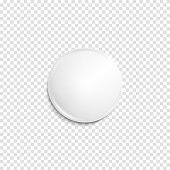 Realistic white badge. Paper shadow blank. Web banner. Element for advertising and promotional message isolated on transparent background. Abstract vector illustration for your design and business