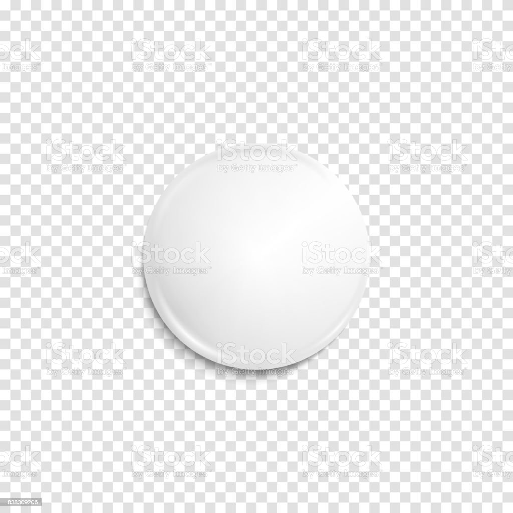 Transparent realistic white badge vector art illustration