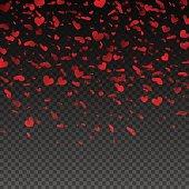 Transparent red falling hearts. Valentines Day design. Vector illustration EPS10
