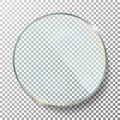 Transparent Round Circle Vector Realistic Illustration. Glass Plate Mock Up Or Plastic Banner.