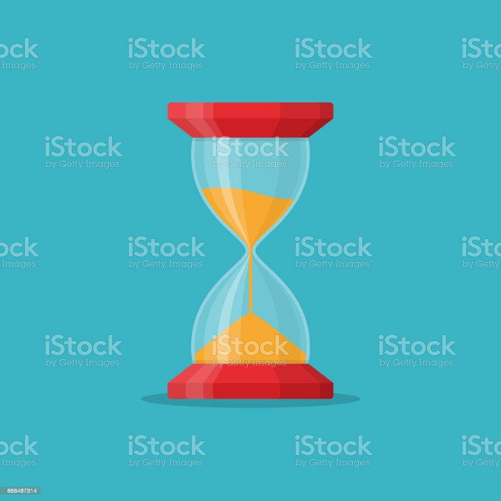Transparent sandglass icon on blue background. Time hourglass in flat style. Sandclock - ilustração de arte vetorial