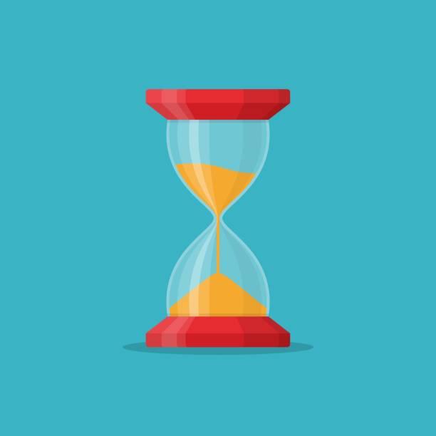 Transparent sandglass icon on blue background. Time hourglass in flat style. Sandclock - ilustração de arte vetorial