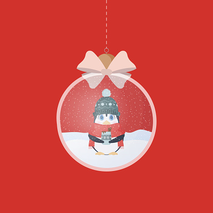 Transparent silver Christmas ball with a penguin inside. On a red background. Vector