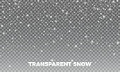 Transparent Snow. Vector transparent snow background. Christmas and New Year decoration