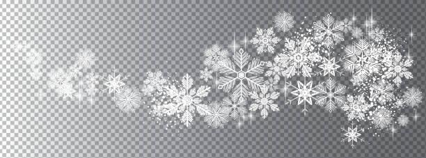 stockillustraties, clipart, cartoons en iconen met transparante sneeuw golf sjabloon - snowflakes