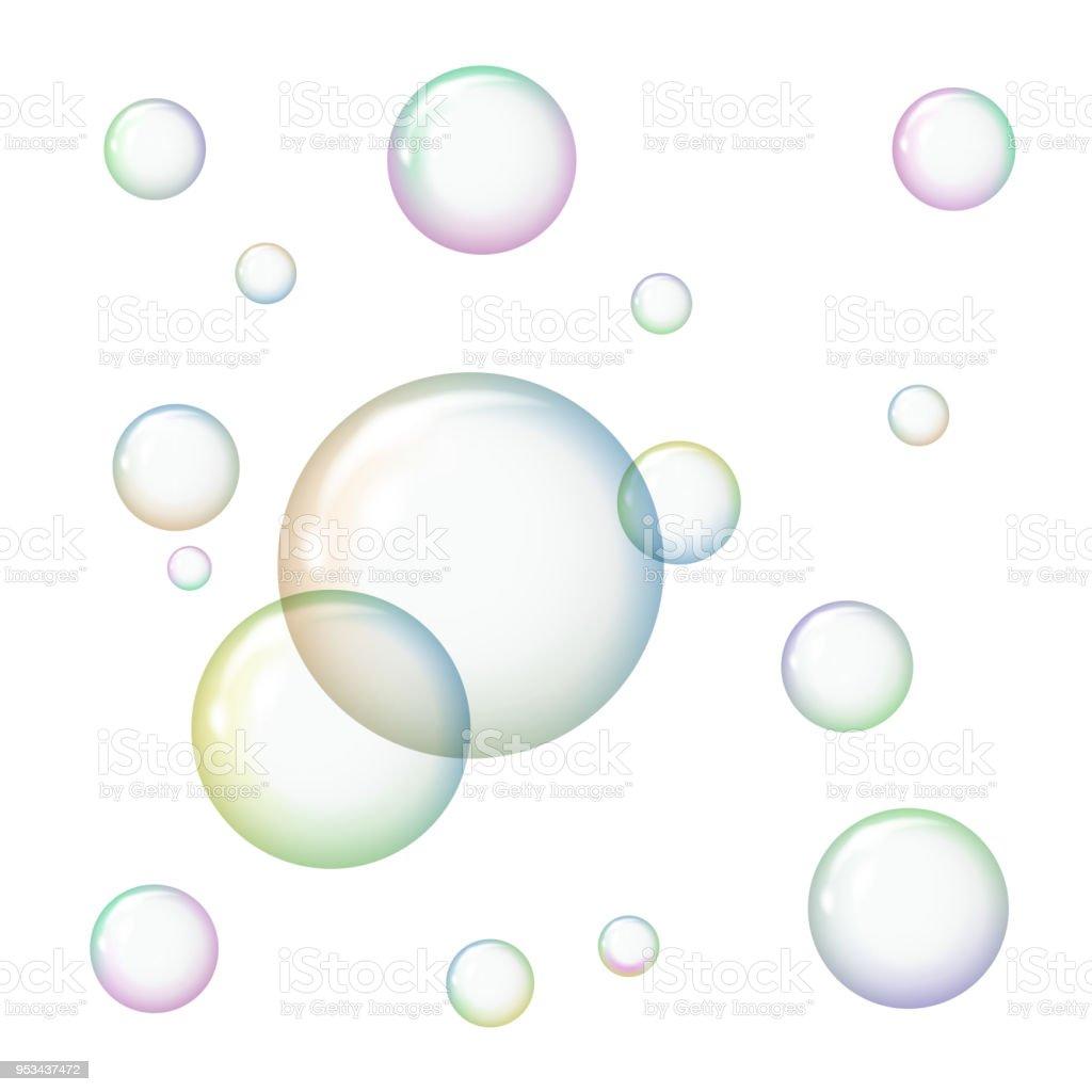 527884c1e2d Bolhas de sabão transparentes sobre fundo branco. vetor de bolhas de sabão  transparentes sobre fundo
