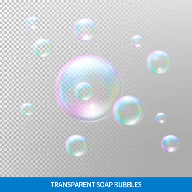 Bolhas de sabão transparentes. Realista bolhas de sabão. Arco-íris reflexo bolhas de sabão - ilustração de arte em vetor