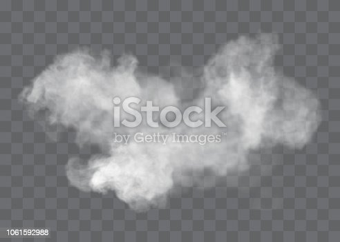 istock Transparent special effect stands out with fog or smoke. White cloud vector, fog or smog. 1061592988