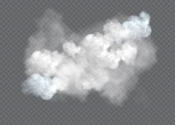 transparent special effect stands out with fog or smoke. white cloud vector, fog or smog. - chmura stock illustrations