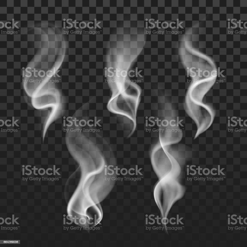 Şeffaf Buhar, Sigara dumanı dalgalar, sis doku vektör set vektör sanat illüstrasyonu