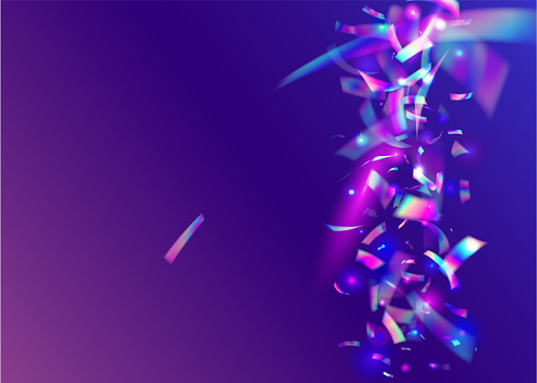 Transparent Tinsel. Kaleidoscope Texture. Hologram Confetti. Fan